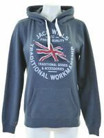 JACK WILLS Womens Hoodie Jumper UK 14 Medium Blue Cotton Loose Fit  JA13