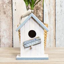 White Wooden Bird House Nesting Box Tree Wall Hanging Nest Feeder Nautical Beach