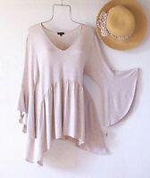 New~Gray Beige Heather Peasant Blouse Tunic Shirt Boho Top~Size Small S