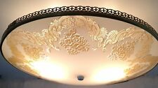 SET OF 2 VINTAGE ART DECO GOLD EMBOSSED GLASS CEILING FIXTURE SHADE LIGHT LAMP