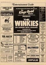 Winkies The Kings Road Theatre, London MM5 show Advert 1975