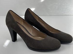 GABOR Womens Suede Dark Grey Leather Heels Pumps- Size 9