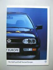 VW Golf + Golf Variant Europe brochure Prospekt German text Deutsch 12pages 1996