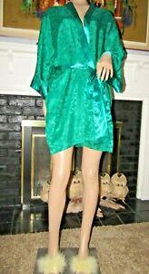 Vtg Green Gold Label VS Victoria's Secret Short Robe Damask polyester Sz S/M/L