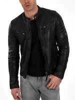New Mens 100% Genuine Leather Bomber Slim Fit Jackets -S-M-L-XL-2XL-3XL-4XL-5XL