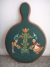 Vintage Large Swedish Wooden Hand Painted Cutting Chopping Board Decorative