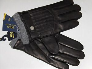 POLO RALPH LAUREN Men's Quilted Racing Leather Gloves, Wool Lined 3M, Black, NWT