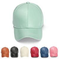 Men Women Leather Baseball Cap Unisex Snapback Outdoor Sport Adjustable Hat New