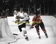 HENRI RICHARD Pursues Hawks PIERRE PILOTE Around NET 8x10 Photo CANADIENS HOF~@@