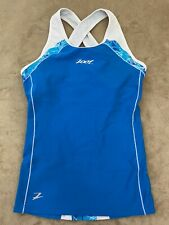 Zoot Womens Performance Triathlon Tri Tank Top Woman's Small 2 Pockets Blue