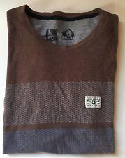 Men's Brown Striped H-A-P-Y-T-R-E ShortSleeve T-Shirt Large L