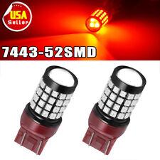 2Pcs Pure RED 7443 T20 52SMD LED Blinking Brake/Tail Light Blinker 12V-24V