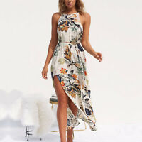 Summer High Split Sleeveless Boho Womens Holiday Halter Neck Floral Maxi Dress