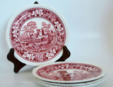 Copeland Spode Pink Tower Old Mark 1920 - 50 Set of 4 Bread and Butter Plates