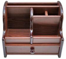 Wooden Top Desk Organizer Pen Pencil Holder Box Stationary Storage Rack Drawer