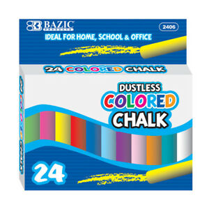 24 Pcs Assorted Dustless Chalk Non-toxic Drawing Home school Office