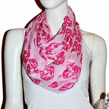 New HotPink/Pink Skull Light Weiget  X-Lgrge Infinity Scarf Loop Cowl