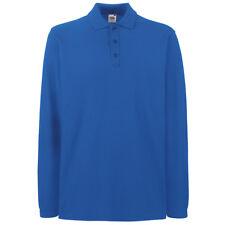 Fruit of The Loom Ss258 Mens Premium Long Sleeves Polo Tshirt Casual T-shirt Top Royal Blue XL