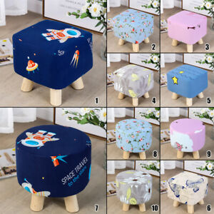 Stretch Square/Round Ottoman Slipcovers Elastic Footstool Sofa Protector Cover