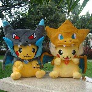 2Pcs Cosplay Pikachu With Charizard Suit Plush Shiny Charizard Stuffed Toy Dol