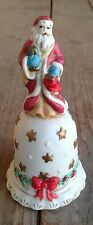"""Bell #R Ceramic Bisque Santa Claus Bell Figural Handle Christmas 4 3/4"""" Folksy"""