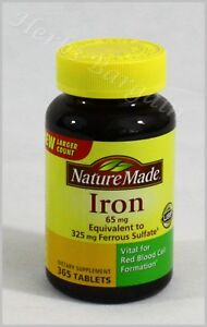 Nature Made Iron 65 mg 365 Tablets New Sealed Free Shipping