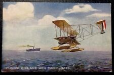 Old Vintage Antique Tucks Oilette Pusher Biplane w Floats 1900s Postcard - RARE