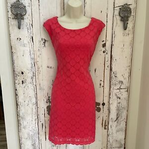 Connected Size 8P 8 Petite Woman's Pink Sleeveless Casual Career Sheath Dress