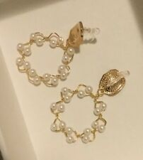 Goldtone Wire Braided Mini Seed Pearl Woven Wreath Earring Clips