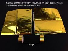 2 Pieces REFLECTIVE GOLD HEAT SHIELD THERMAL RACING ENGINE+2 pieces Cool-Tape