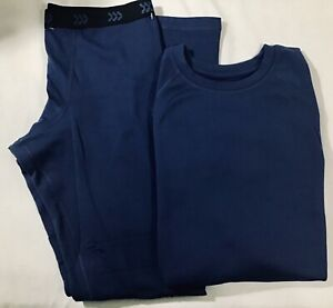 2 Pc. All In Motion Youth Size L 12/14 Navy Blue Thermal Underwear Long John Set