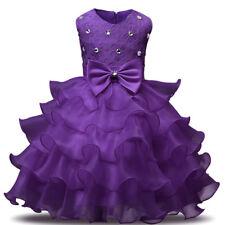 Bridesmaid Girl Princess Dress Baby Diamond Kids Party Bow Wedding Dresses New