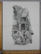 Rare Antique OrigVTG Grand Staircase Palace of Fine Arts Illustration Art Print