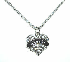 "16"" Silver Plated Necklace + Rhinestone Heart Pendant BELIEVE Free Gift Bag New"