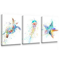 Turtle Canvas Wall Art Starfish Jellyfish Picture for Living Room Bathroom Decor