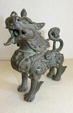 """PAIR OF EARLY THAI BRONZE TEMPLE LION FIGURES - 5 1/2"""" TALL - FINE PATINA"""