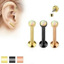 New Colour Plated over Surgical Steel Tragus Cartilage Bar with White Opal
