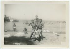 circa 1939 Catalina Island Pile On - Harbor Boats Pier - Bare Chested Men Woman