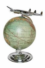 Antique Globe with Aircraft Vintage-Look Decor Globe World Map Gift Earth