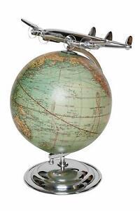 Antik Globus mit Flugzeug Vintage-Look Deko Weltkugel Weltkarte Geschenk Erde