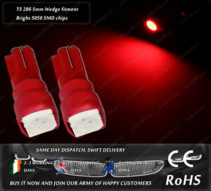 LED SMD T5 286 Wedge Red Dashboard Cluster Speedo Instrument Panel Light Bulbs