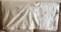 vintage sofa back 1940s 1950s linen silk pink floral tapestry embroidery settee