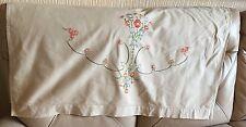 Vintage Mid Century Lin Soie Rose Floral Tapisserie Broderie Canapé Canapé Arrière