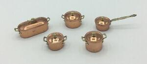 Dolls House Copper Coloured Pots With Lids