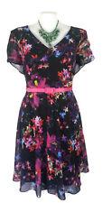 CITY CHIC Dress - Vintage Retro Floral Cutout Black Pink Green V-Neck - XL/22