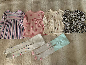 Baby Girl dresses tights lot size 12-18 months