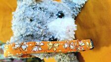 Cat Collar, Handmade - Butterflies On Orange - Spring Sunshine. Meow