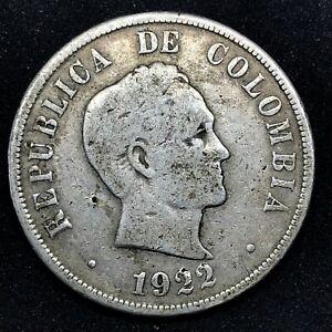 COLOMBIA REPUBLIC 1922 (p)  (#3) 50 CENTAVOS SILVER COIN  KM# 274