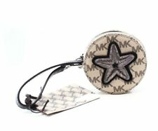 Michael Kors $118 NWT Signature Logo MK Patches Beaded Round Coin Purse Wristlet
