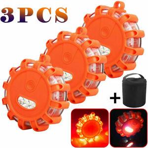 LED Road Flares Emergency Disc Safety Light Flashing Roadside Beacon Warning